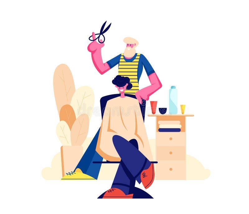 Peluquero barbudo Barber Doing al corte de pelo del cliente ilustración del vector