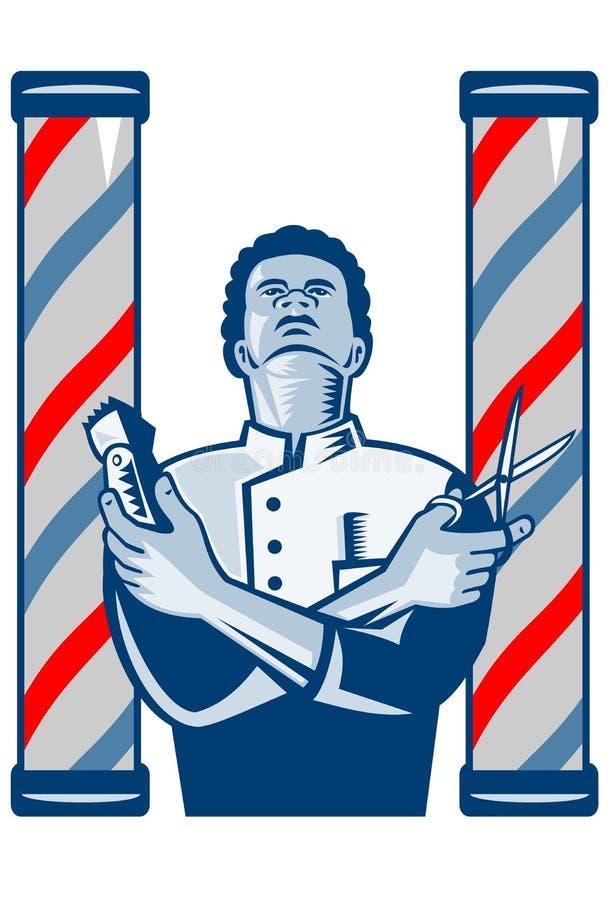Peluquero con las podadoras y las tijeras de pelo de poste retras libre illustration