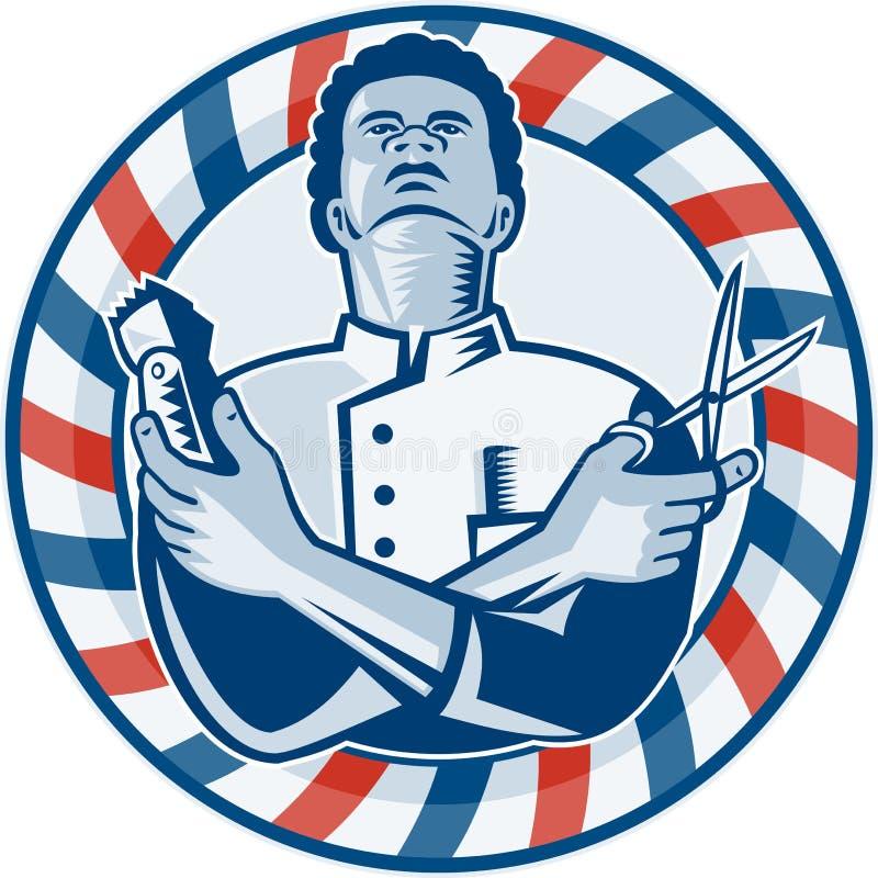 Peluquero con las podadoras y las tijeras de pelo de poste retras ilustración del vector
