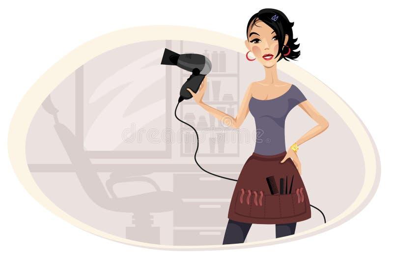 Peluquero de la muchacha en el lugar de trabajo ilustración del vector