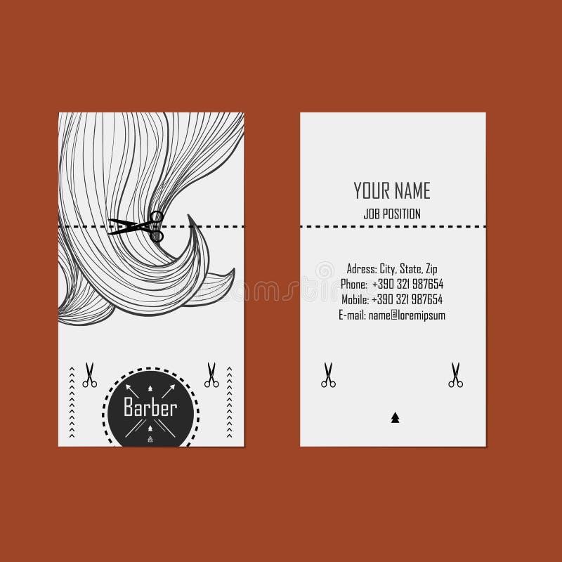 Peluquero de la tarjeta de visita (peluquero) ilustración del vector