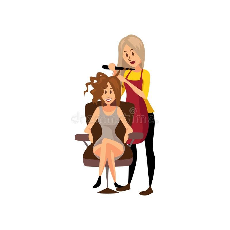 Peluquero de sexo femenino que hace el peinado usando el hierro que se encrespa a la mujer joven, estilista profesional en la his stock de ilustración