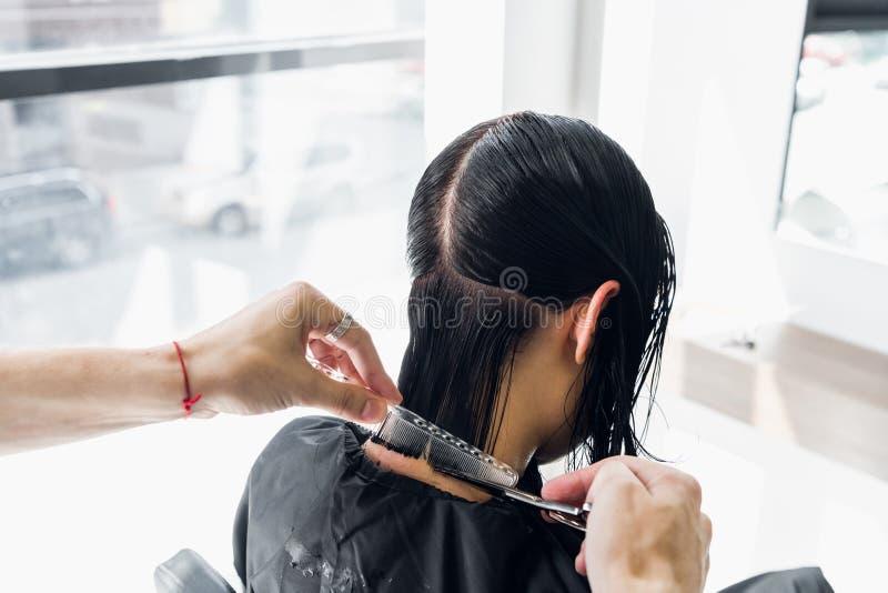 Peluquero de sexo masculino de la cadera profesional joven que corta el pelo oscuro de la mujer del cliente en el salón fotos de archivo