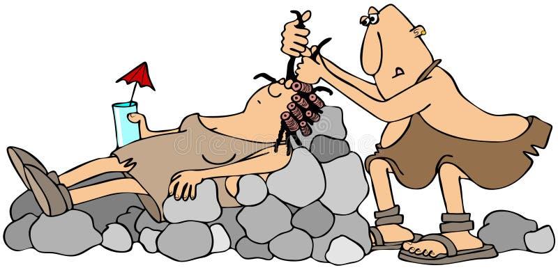 Peluquero del hombre de las cavernas ilustración del vector