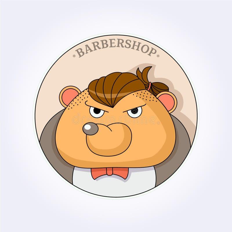 Peluquero del inconformista del oso del vector para los hombres barbershop stock de ilustración