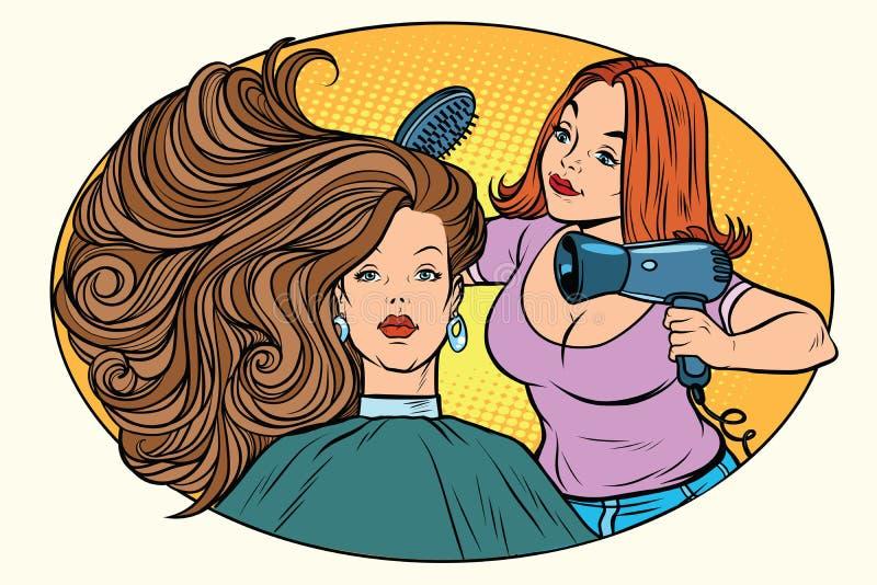 Peluquero del pelo de las mujeres que hace el brushing ilustración del vector