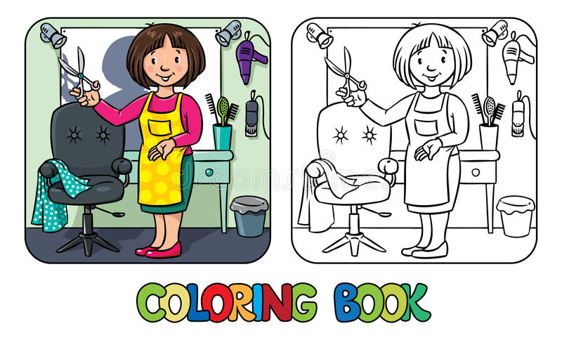 Peluquero divertido del hairdresseror Libro de colorante libre illustration
