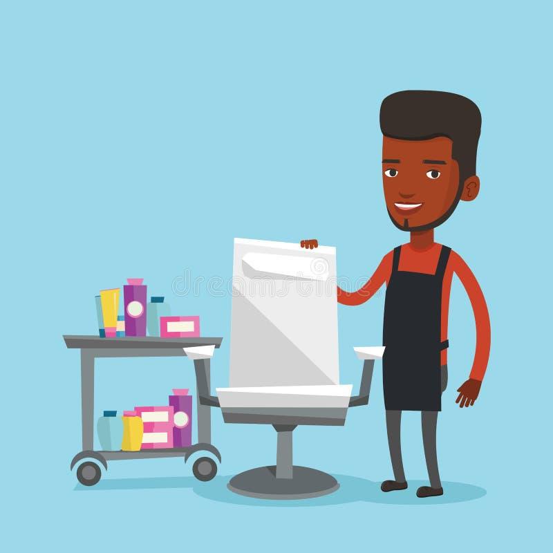 Peluquero en el lugar de trabajo en peluquería de caballeros libre illustration