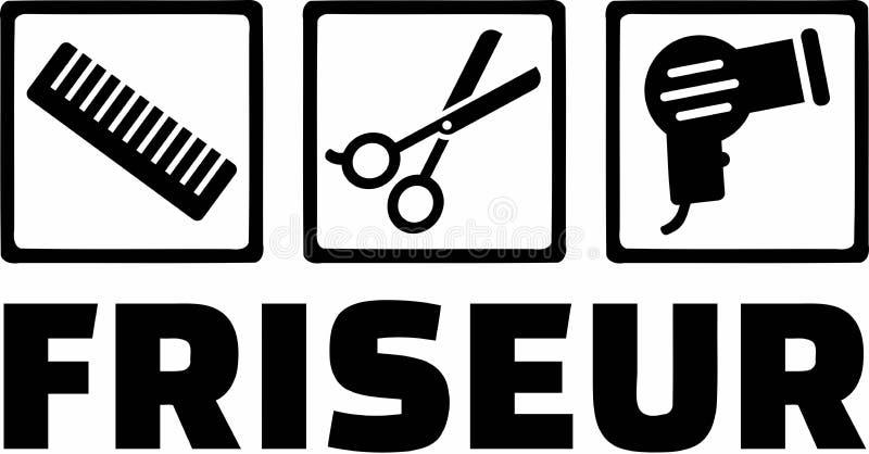 Peluquero Icons de Friseur stock de ilustración