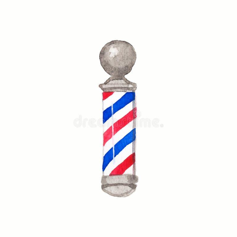 Peluquero poste Polos del peluquero de la acuarela en el blanco stock de ilustración