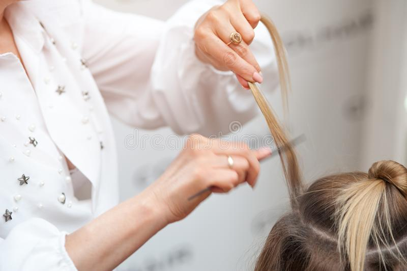 Peluquero profesional que hace un peinado a un modelo de pelo rubio fotografía de archivo libre de regalías