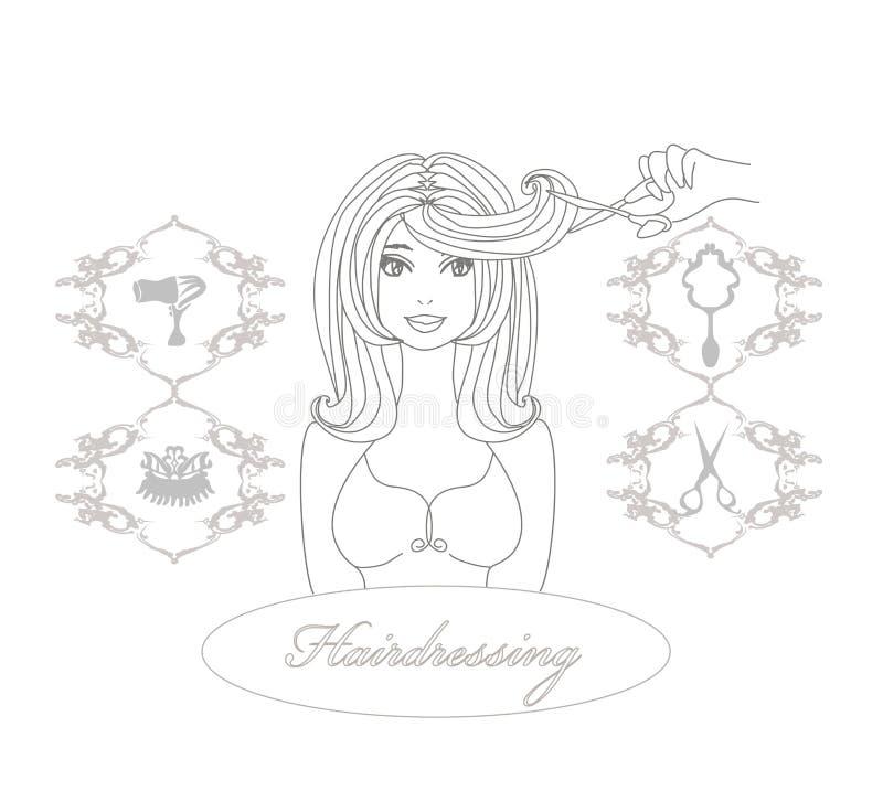 Peluquero que hace corte de pelo en el salón de belleza stock de ilustración