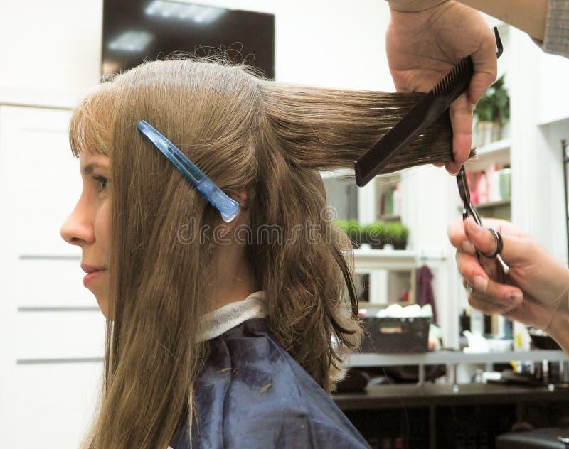Peluquero que hace corte de pelo en salón de la peluquería Pelo del corte del peluquero Industria de la belleza imagenes de archivo