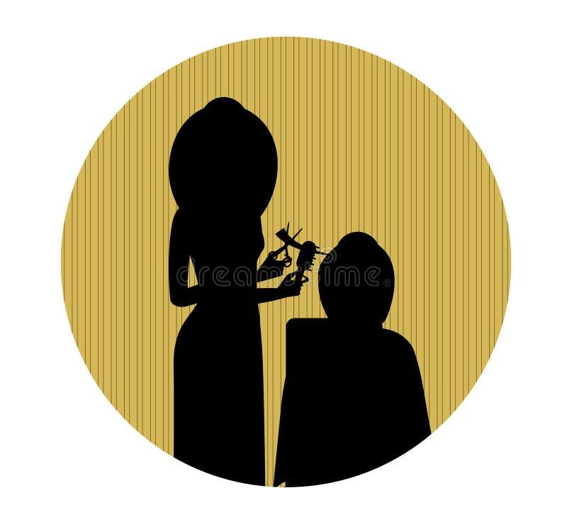 Peluquero que hace corte de pelo Estilista en un salón del peluquero stock de ilustración