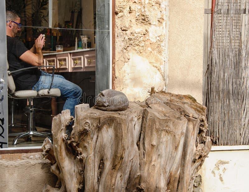 Peluquero que manda un SMS y el dormir de la escultura del gato foto de archivo libre de regalías