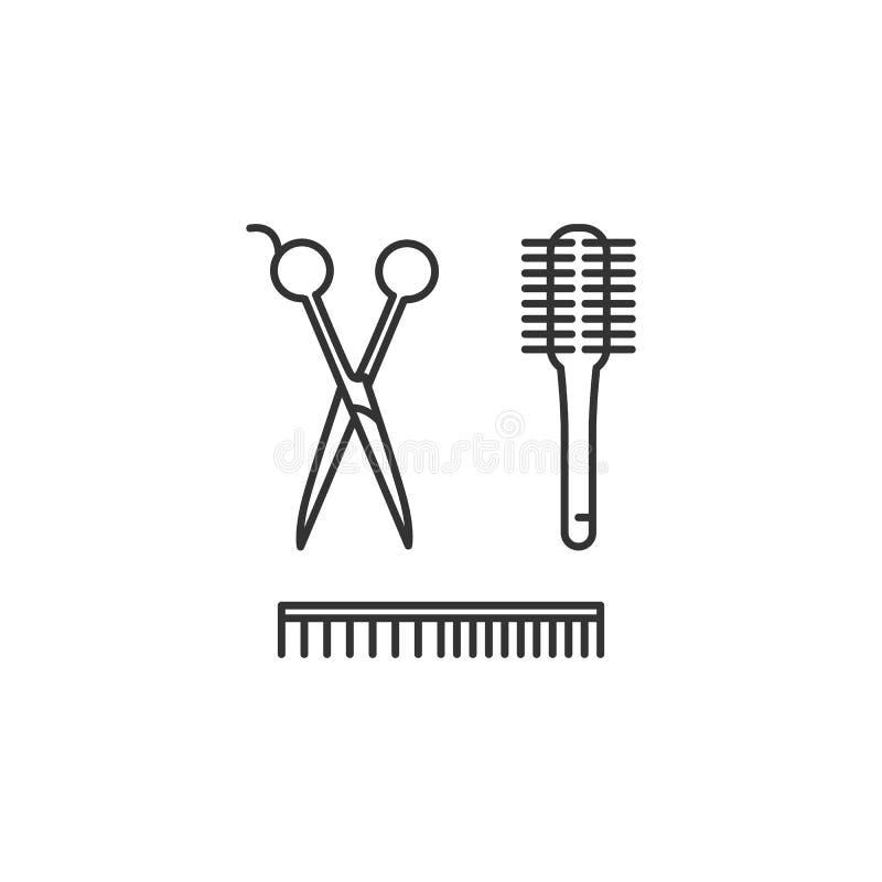 Peluquero Tools - tijeras, peine, cepillo Icono de la barbería, símbolos del salón de pelo La línea fina diseño del arte, Vector  stock de ilustración