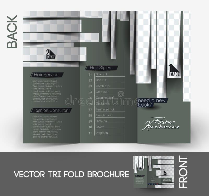 Peluquero Tri-Fold Brochure stock de ilustración