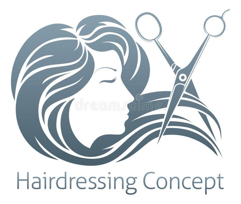 Peluquero Woman Scissor Concept stock de ilustración