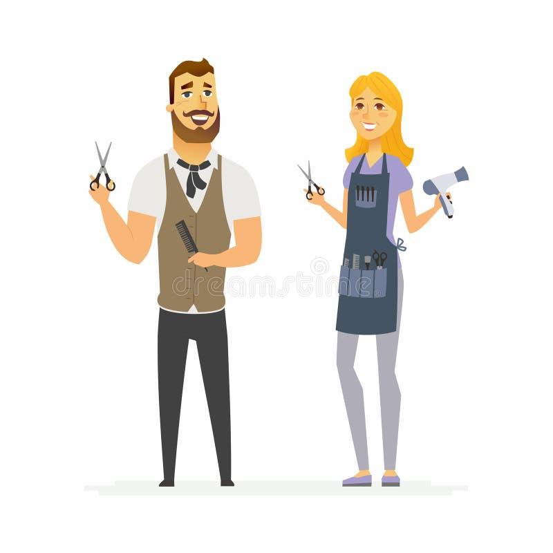 Peluqueros - ejemplo de los caracteres de la gente de la historieta libre illustration