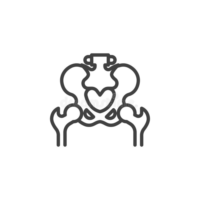 Pelvis bones line icon. Linear style sign for mobile concept and web design. Hip joint outline vector icon. Symbol, logo illustration. Vector graphics royalty free illustration