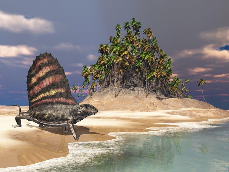 Pelycosaur Dimetrodon illustration libre de droits
