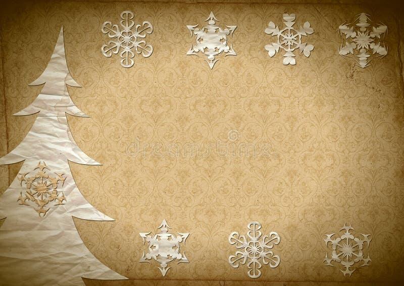 Pelz-Baum und Schneeflocken vektor abbildung