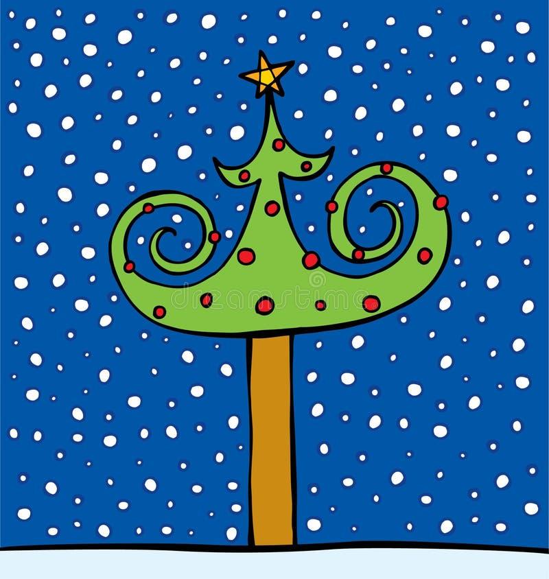 Pelz-Baum verziert durch Kugeln und einen Stern vektor abbildung