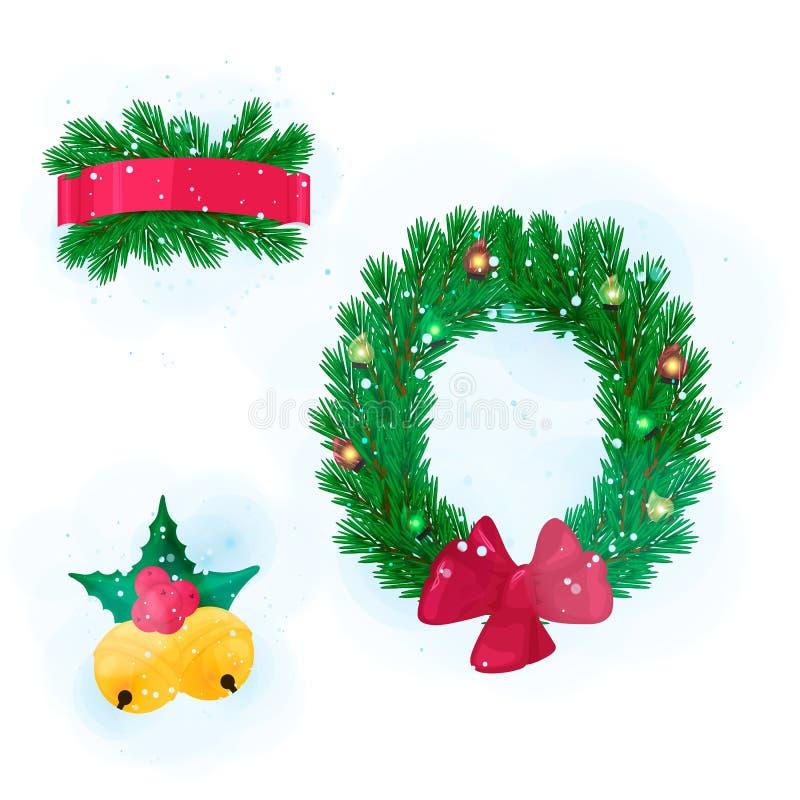 Pelz-Baum verzweigt sich Gestaltungselement Winden Sie und beugen Sie, rotes Band, Weihnachtsglocken stock abbildung