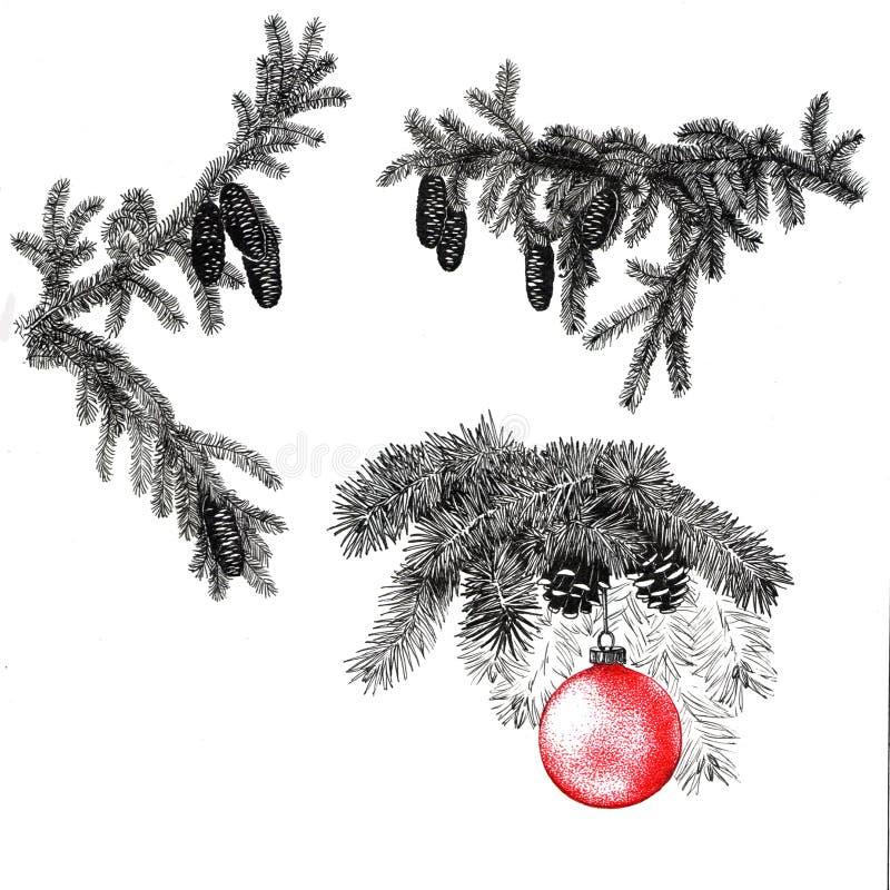 Pelz-Baumniederlassung und Chrhistmassbaum ` s Spielzeug stock abbildung