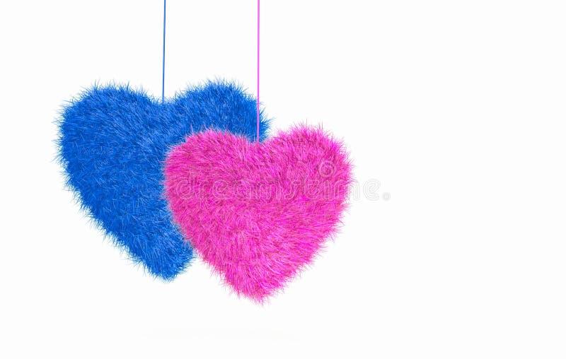 Pelzherzen in der rosa und blauen Farbe, die am Seil lokalisiert auf Weiß hängt lizenzfreie abbildung