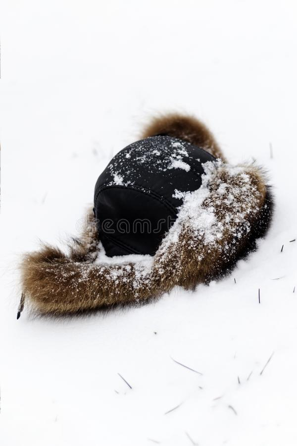 Pelzhut für den Winter umfasst im Schnee Der erste Schnee fiel haben Sie das Tonen snowing lizenzfreie stockbilder