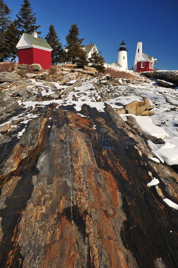 Pemaquid-Leuchtturm im Winter lizenzfreie stockfotos