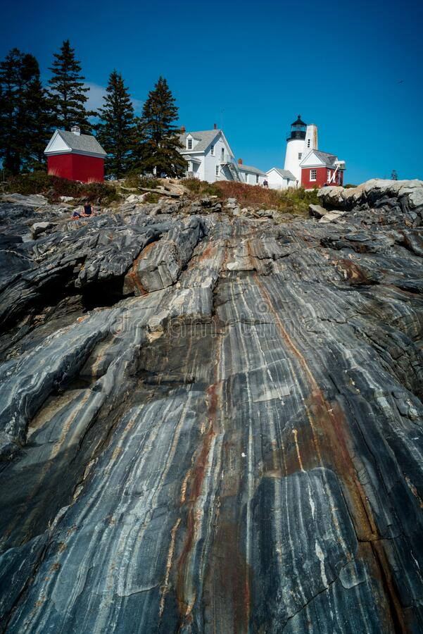 Pemaquid point lighthouse rock formation. Pemaquid point light house on the Maine coast royalty free stock image