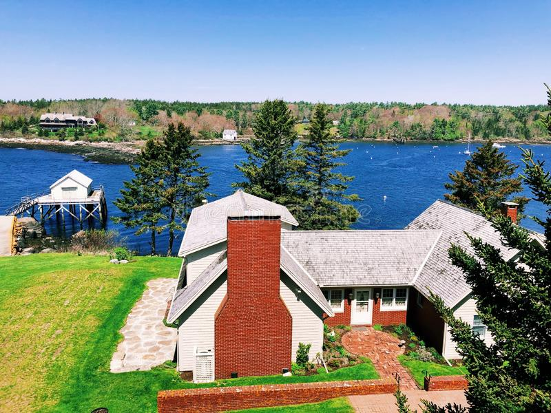 The Pemaquid River summer view from Fort William Henry. Fort William Henry is located in the village of New Harbor in the town of Bristol, Maine.The Pemaquid royalty free stock photos