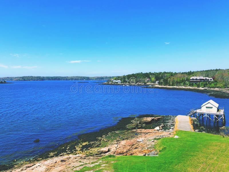 The Pemaquid River summer view from Fort William Henry. Fort William Henry is located in the village of New Harbor in the town of Bristol, Maine.The Pemaquid royalty free stock image