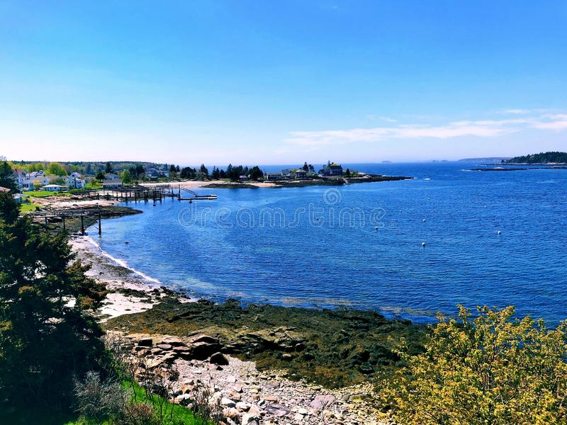 The Pemaquid River summer view from Fort William Henry. Fort William Henry is located in the village of New Harbor in the town of Bristol, Maine.The Pemaquid stock photos