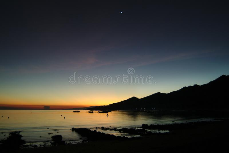 Tropical Sunrise in the Village of Pemuteran, Bali, Indonesia. royalty free stock photos