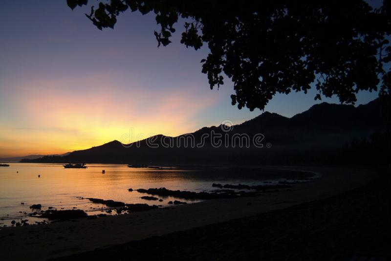 Tropical Sunrise in the Village of Pemuteran, Bali, Indonesia. royalty free stock photography