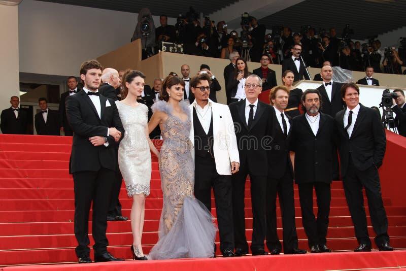 Penélope Cruz, Geoffrey Rush e Johnny Depp imagens de stock royalty free
