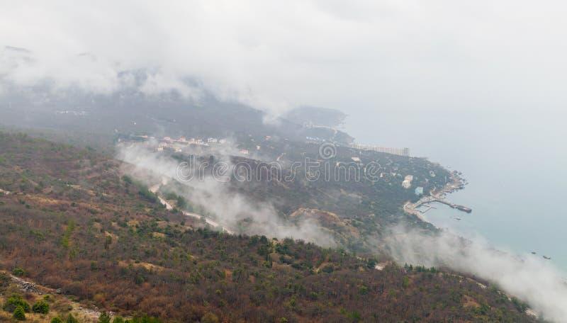 Península de Crimea, costa del Mar Negro, visión aérea imagen de archivo libre de regalías
