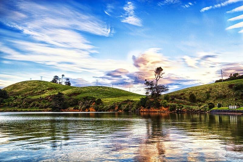 Península Dunedin Nueva Zelanda de Otago de la salida del sol foto de archivo libre de regalías