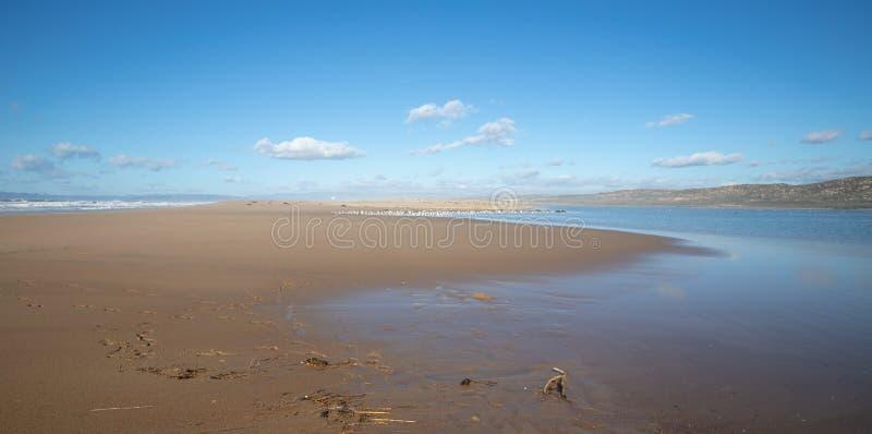 Península entre el río del Pacífico y de Santa Maria en Rancho Guadalupe Sand Dunes Preserve - costa central California los E.E.U imagen de archivo libre de regalías