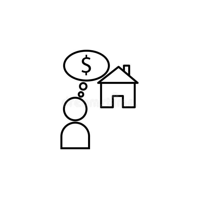 penúria, necessidade, ícone pobre Elemento do problema e do ícone sociais dos refugiados Linha fina ícone para o projeto do Web s ilustração do vetor