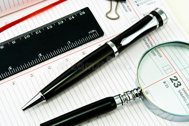 Pen And Agenda With A Tools Of Punctuality Stock Images