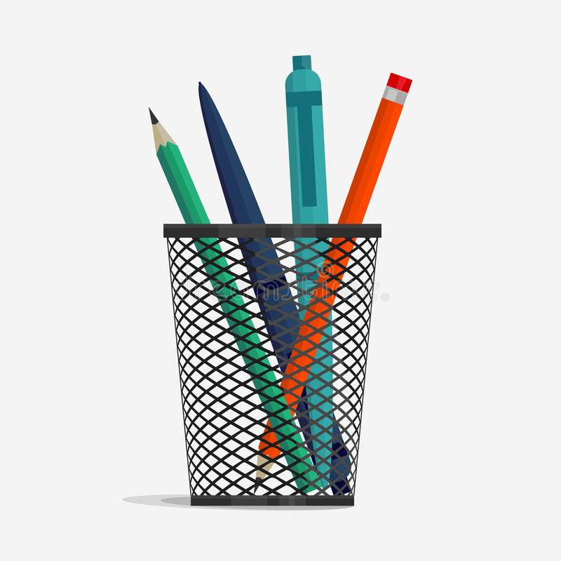 Free Pen And Pencil In Holder Basket Stock Photos - 81614183