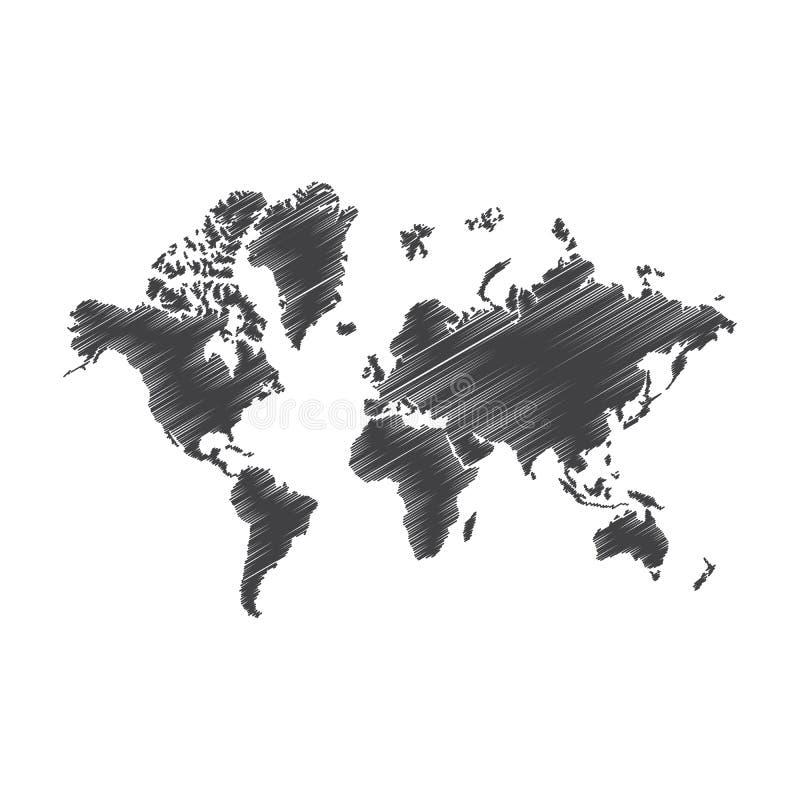 Pen art sketch, drawing, world map, illustration, vector illustration