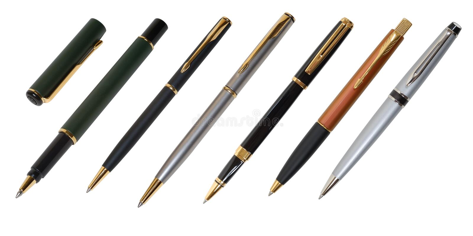 Pen and a ballpen. Isolated on a white background stock image