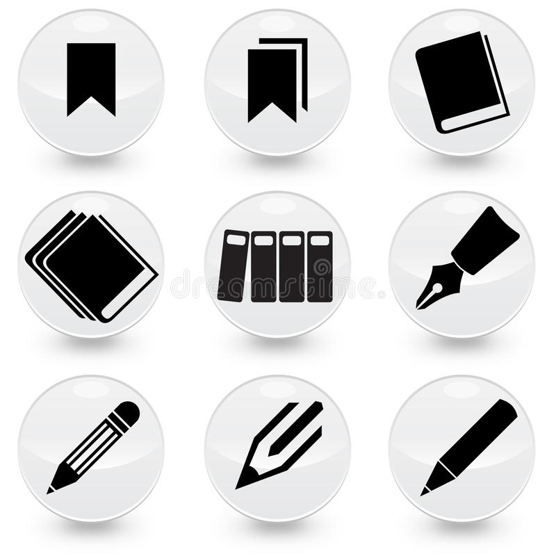 Pen Books Bookmarks vector icons royalty free illustration