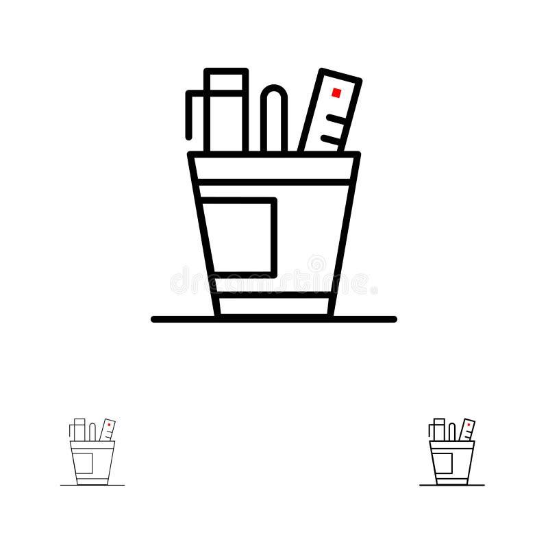 Pen, Bureau, Bureau, Organisator, Levering, Levering, het pictogramreeks van de Hulpmiddelen Gewaagde en dunne zwarte lijn stock illustratie