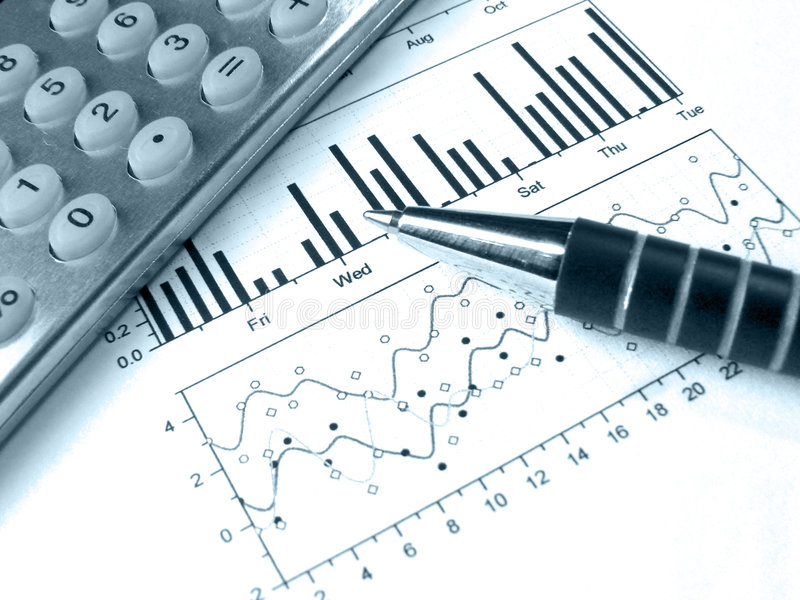 Download Pen And Calculator Against The Graph (in Blue) Stock Photo - Image of account, banking: 8110250